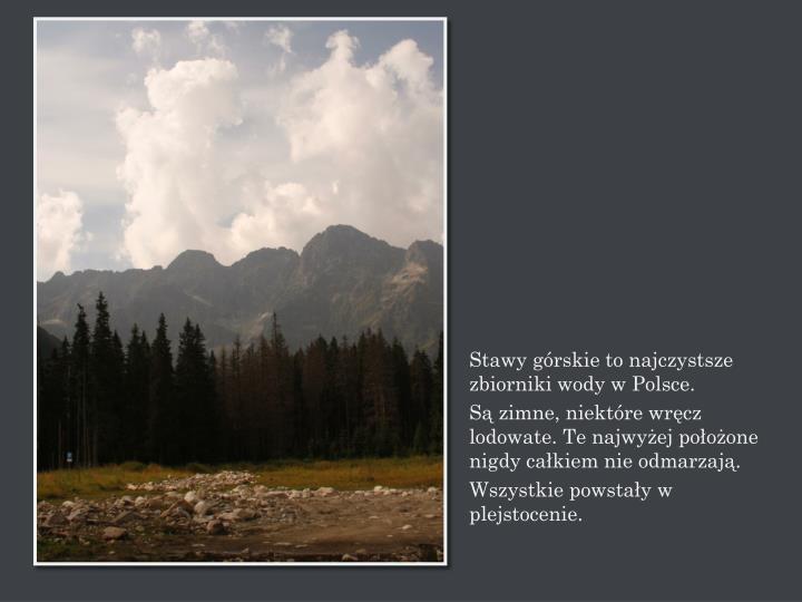 Stawy górskie to najczystsze zbiorniki wody w Polsce.