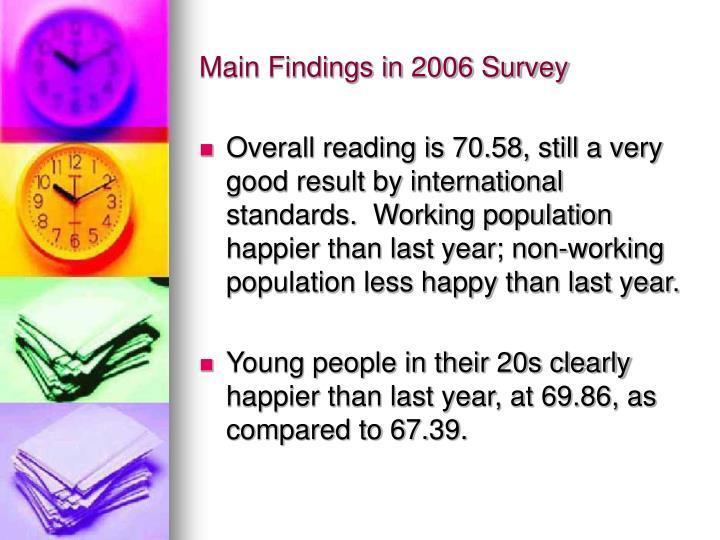 Main Findings in 2006 Survey