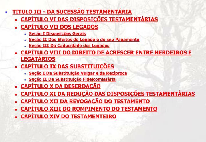 TITULO III - DA SUCESSÃO TESTAMENTÁRIA