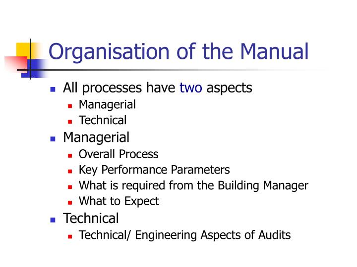 Organisation of the Manual