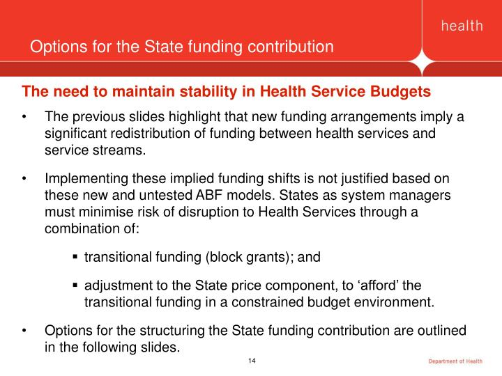 Options for the State funding contribution
