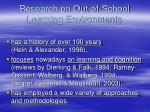 research on out of school learning environments