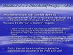 structure of the wednesday programme 21