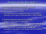 syntax of the site visit 1