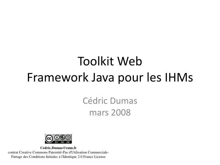 toolkit web framework java pour les ihms n.