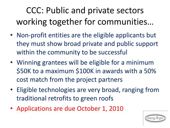 CCC: Public and private sectors working together for communities…