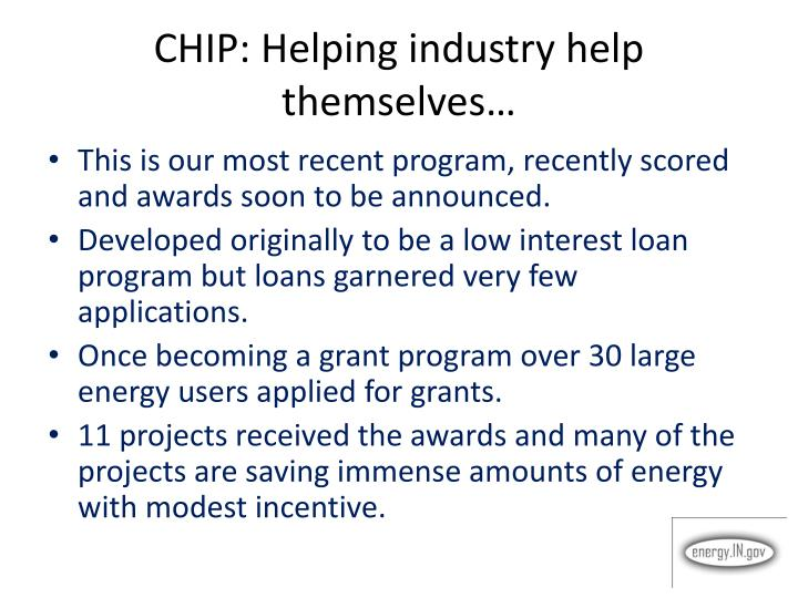 CHIP: Helping industry help themselves…