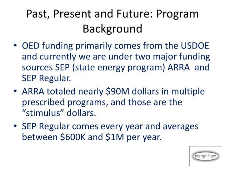 Past present and future program background