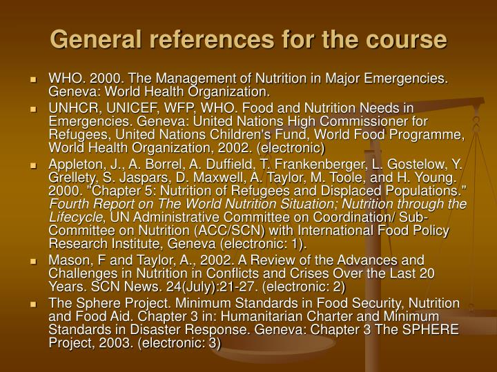 General references for the course