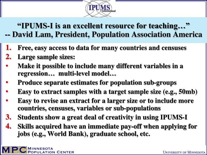 """""""IPUMS-I is an excellent resource for teaching…"""""""