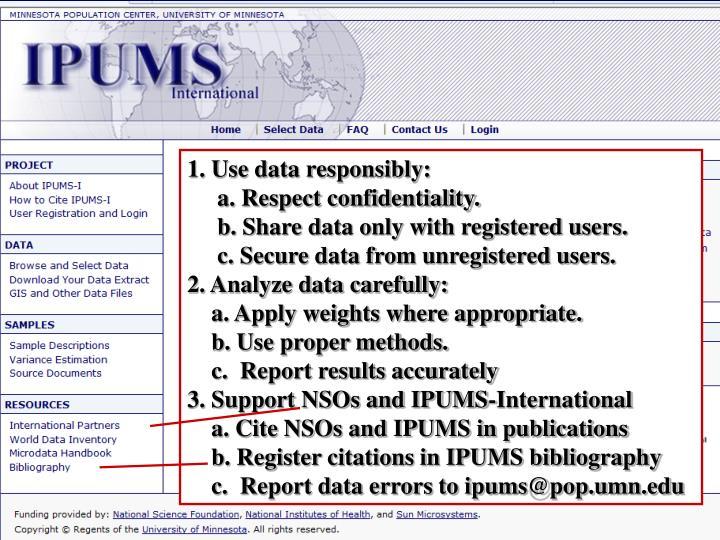 1. Use data responsibly: