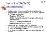 impact of sacmeq international
