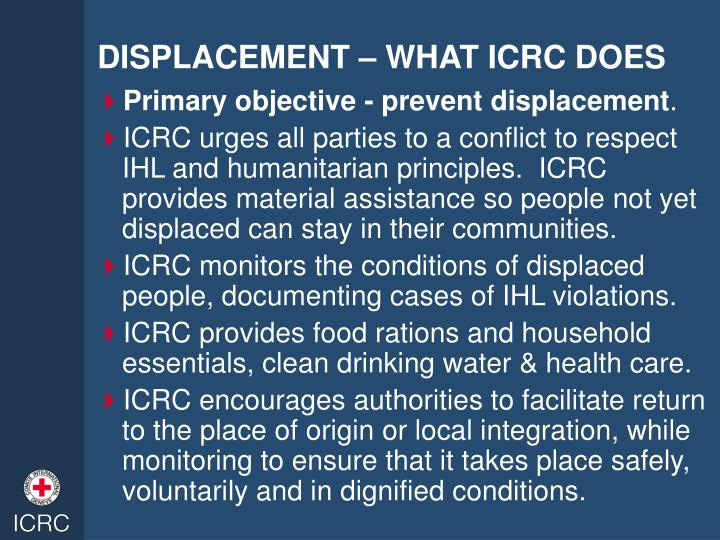 DISPLACEMENT – WHAT ICRC DOES