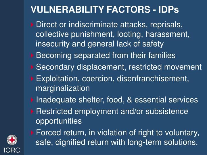 VULNERABILITY FACTORS - IDPs
