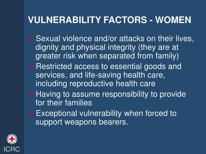 VULNERABILITY FACTORS - WOMEN