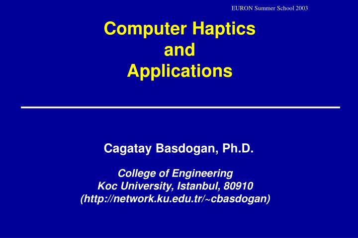 computer haptics and applications n.
