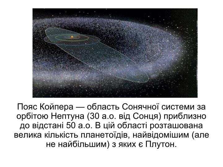 Пояс Койпера — область Сонячної системи за орбітою Нептуна (30 а.о. від Сонця) приблизно до відстані 50 а.о. В цій області розташована велика кількість планетоїдів, найвідомішим (але не найбільшим) з яких є Плутон.