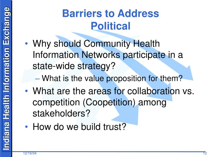 Barriers to Address