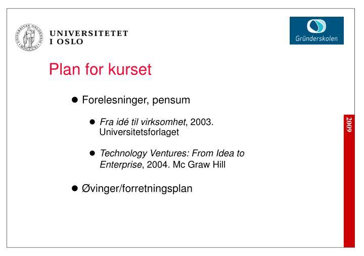 Plan for kurset