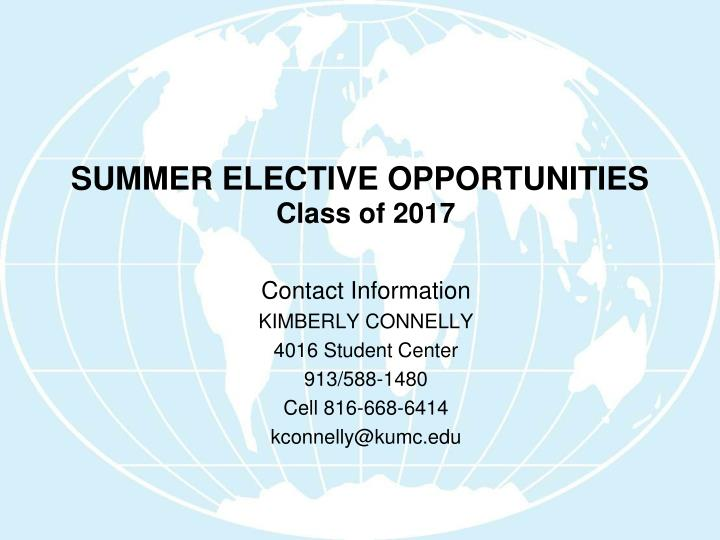 summer elective opportunities n.