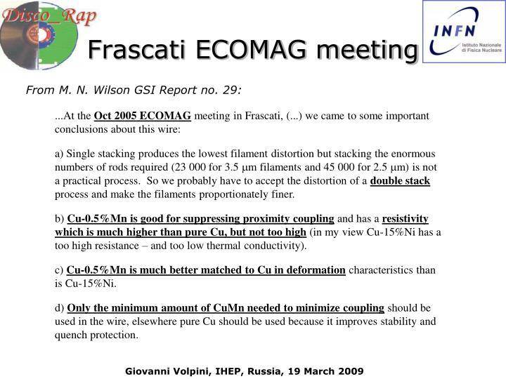 Frascati ECOMAG meeting