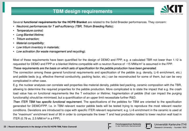 TBM design requirements