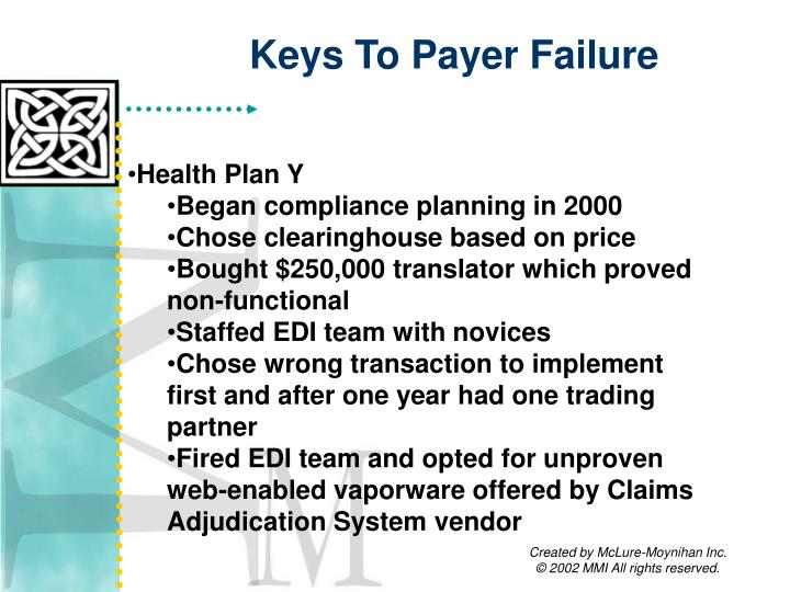 Keys To Payer Failure