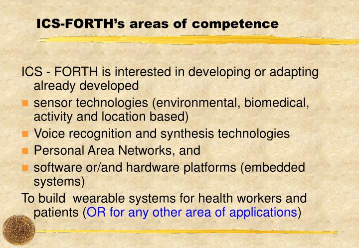 ICS-FORTH's areas of competence