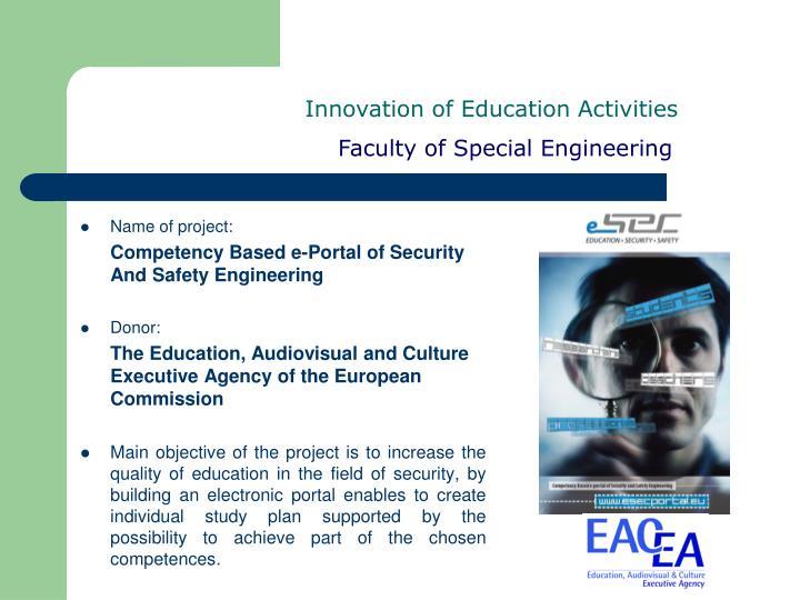 Innovation of Education Activities