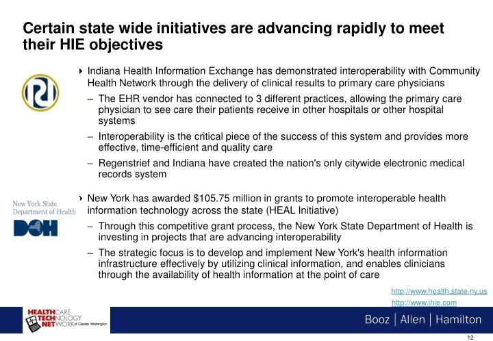 Certain state wide initiatives are advancing rapidly to meet their HIE objectives