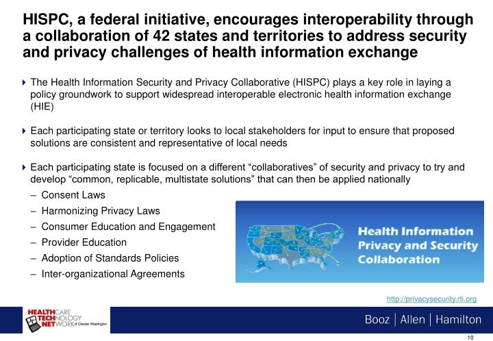 HISPC, a federal initiative, encourages interoperability through a collaboration of 42 states and territories to address security and privacy challenges of health information exchange