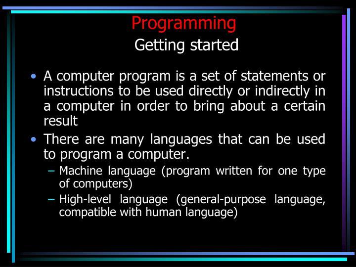 programming getting started n.