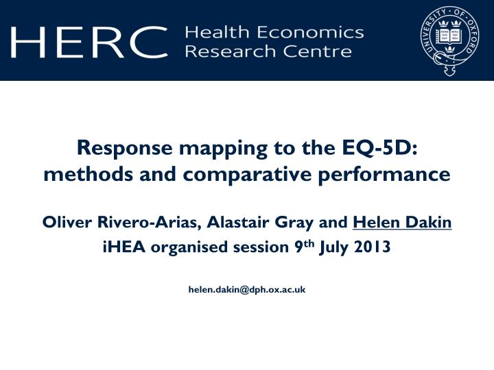 Response mapping to the eq 5d methods and comparative performance