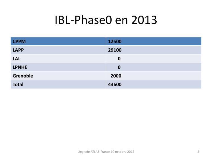 Ibl phase0 en 2013