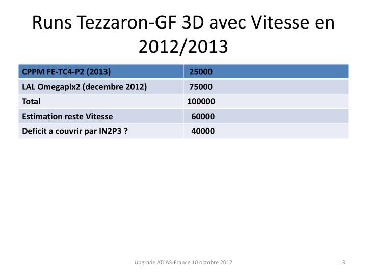 Runs tezzaron gf 3d avec vitesse en 2012 2013
