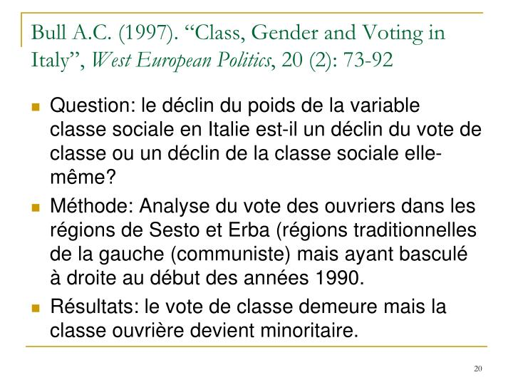 "Bull A.C. (1997). ""Class, Gender and Voting in Italy"","