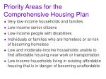 priority areas for the comprehensive housing plan
