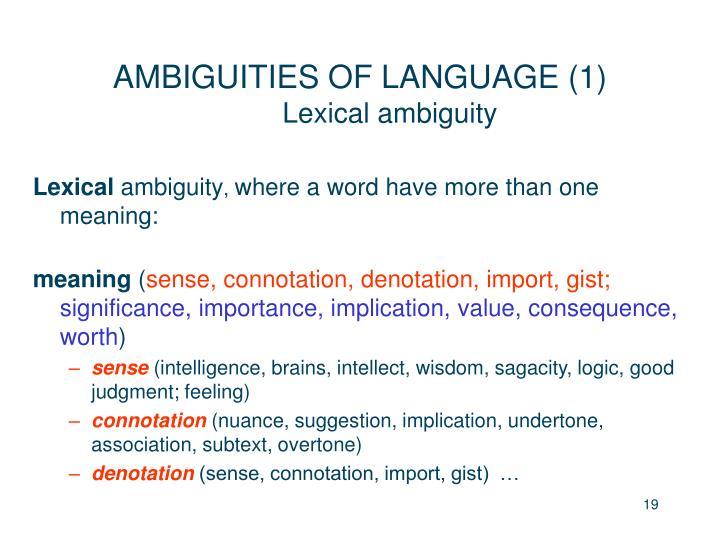 AMBIGUITIES OF LANGUAGE (1)