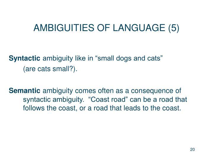 AMBIGUITIES OF LANGUAGE (5)