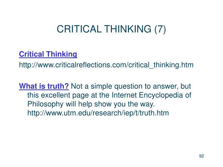 CRITICAL THINKING (7)