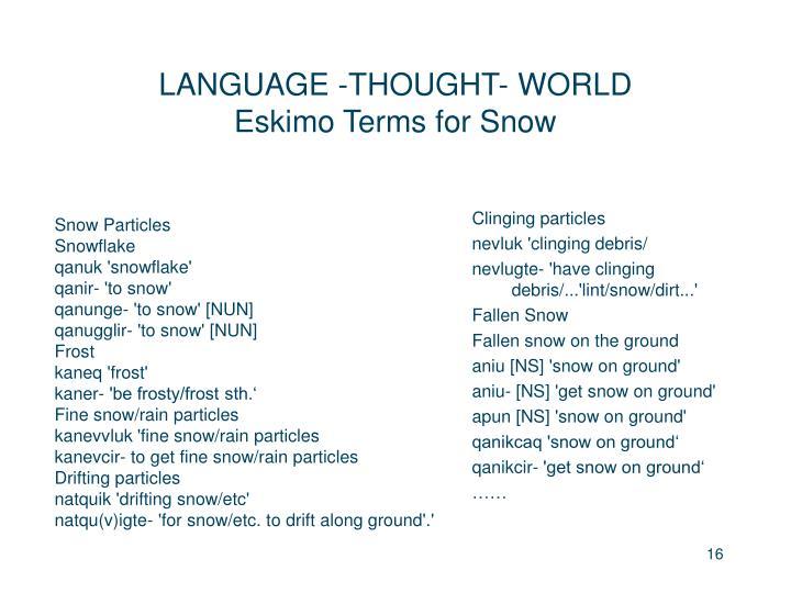 LANGUAGE -THOUGHT- WORLD