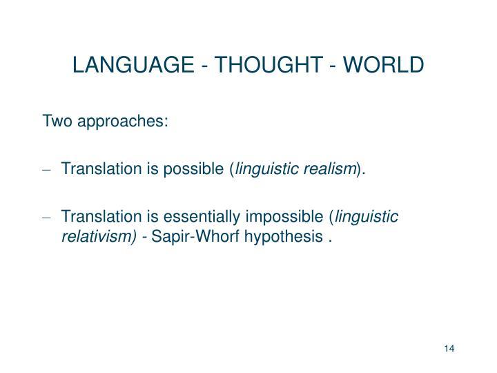 LANGUAGE - THOUGHT - WORLD
