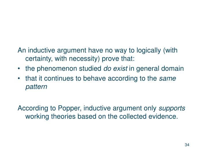 An inductive argument have no way to logically (with certainty, with necessity) prove that:
