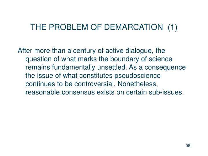 THE PROBLEM OF DEMARCATION  (1)