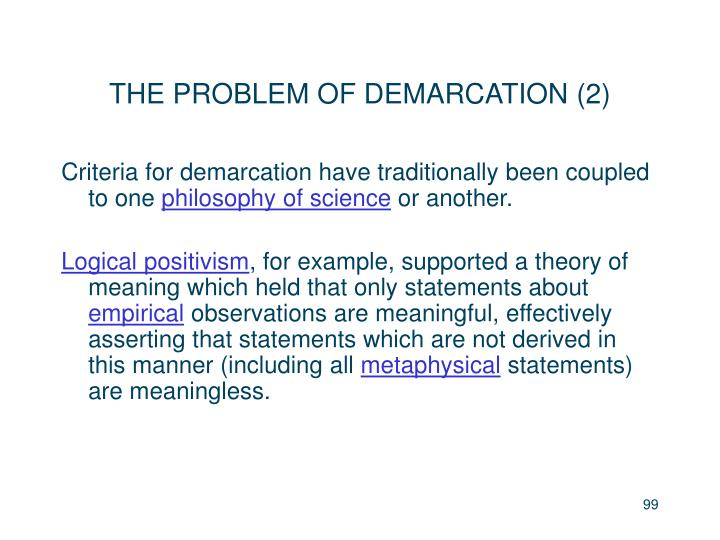 THE PROBLEM OF DEMARCATION (2)