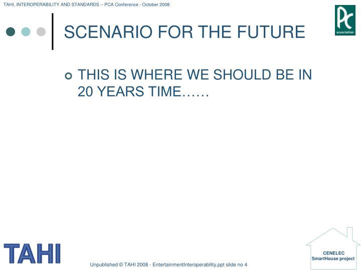 SCENARIO FOR THE FUTURE