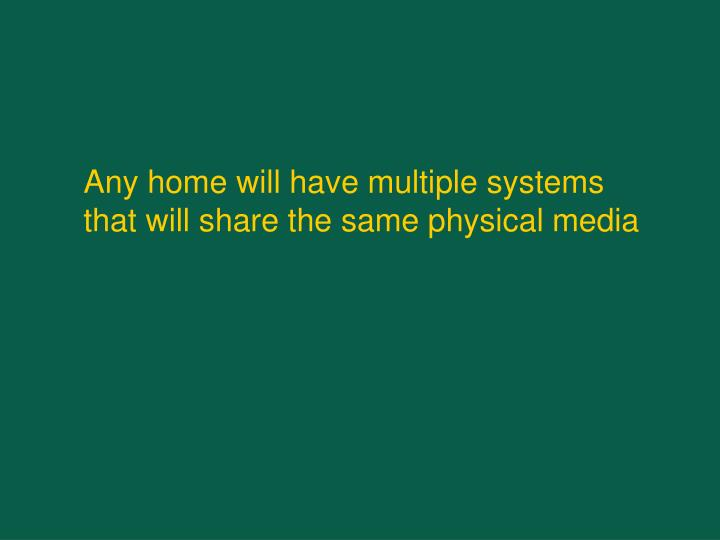 Any home will have multiple systems that will share the same physical media