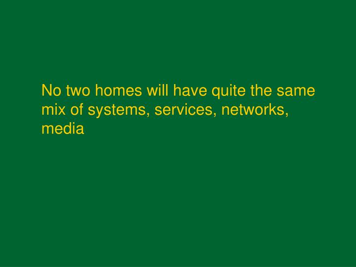 No two homes will have quite the same mix of systems, services, networks, media