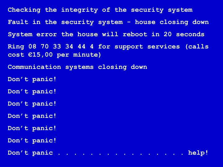 Checking the integrity of the security system