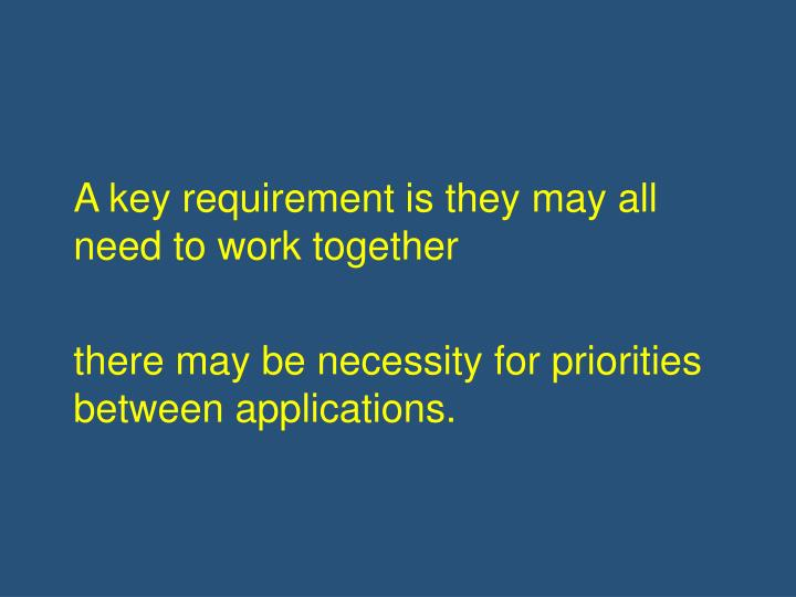 A key requirement is they may all need to work together